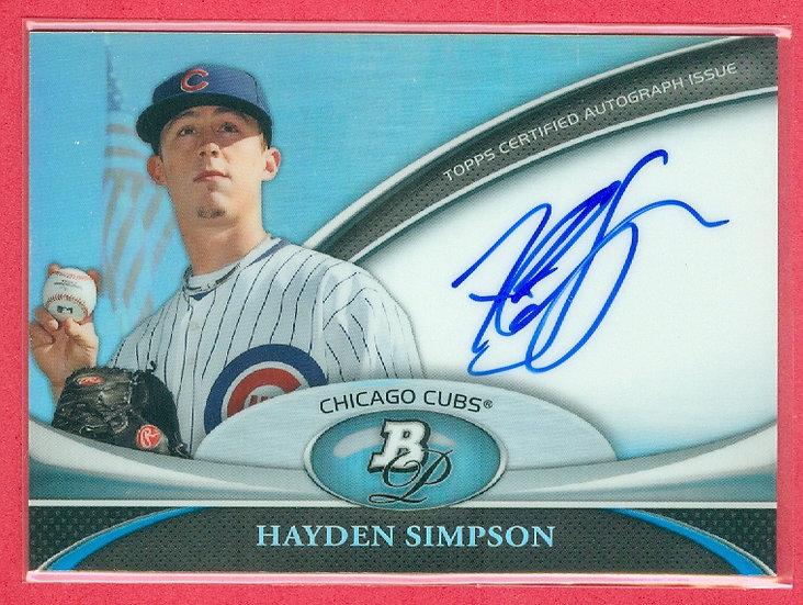 """Hayden Simpson"" SP RC AUTOGRAPH CHROME CHASE CARD"
