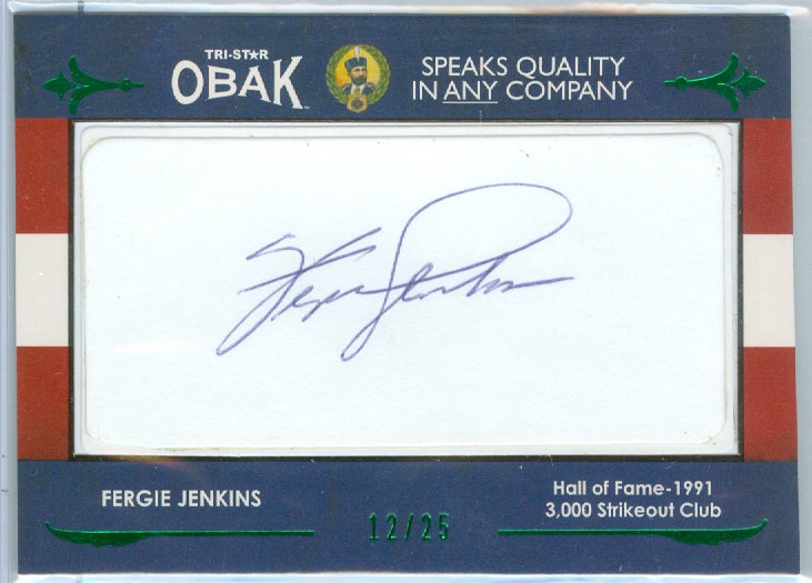 Fergie Jenkins AUTHENTIC CUT AUTOGRAPH #d 12/25