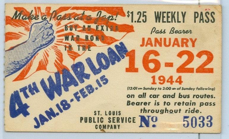1944 ST. LOUIS CAR & BUS PASS TICKET #5033