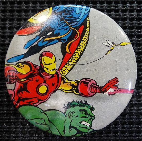"""IRON MAN/HULK/WASP"" POP CULTURE 3"" PINBACK/PIN-BACK COMIC BUTTON"