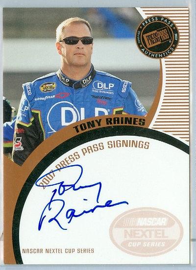 """NASCAR """"Tony Raines"""" AUTHENTIC ON-CARD AUTOGRAPH"""