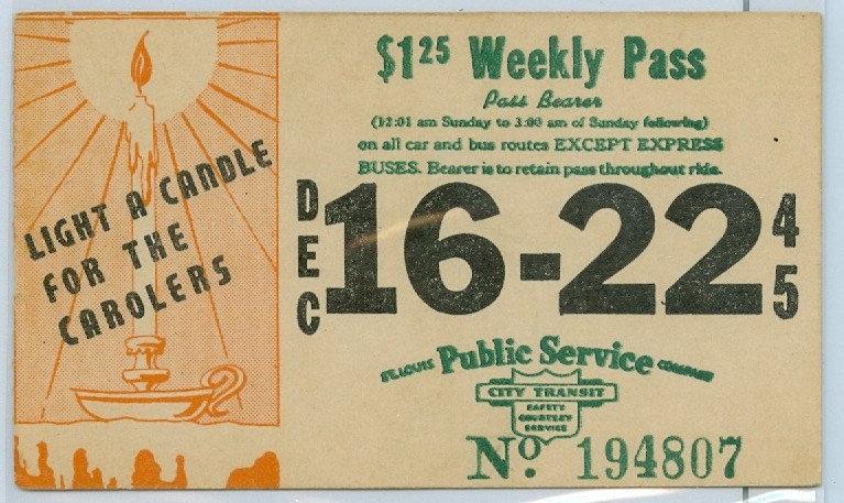 1945 ST. LOUIS CAR & BUS PASS TICKET #194807