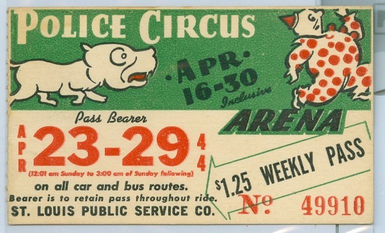 1944 ST. LOUIS CAR & BUS PASS TICKET #49910