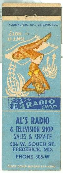 "1940's ""RADIO SHOP"" MATCHBOOK CVR AD  w/Pin-Up Gir"