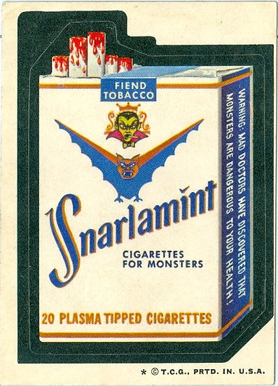 """1974 WACKY PACKAGES """"SNARLAMINT"""" STICKER /TAN BACK"""