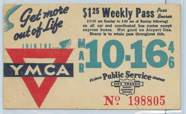 1946 ST. LOUIS CAR & BUS PASS TICKET #198805