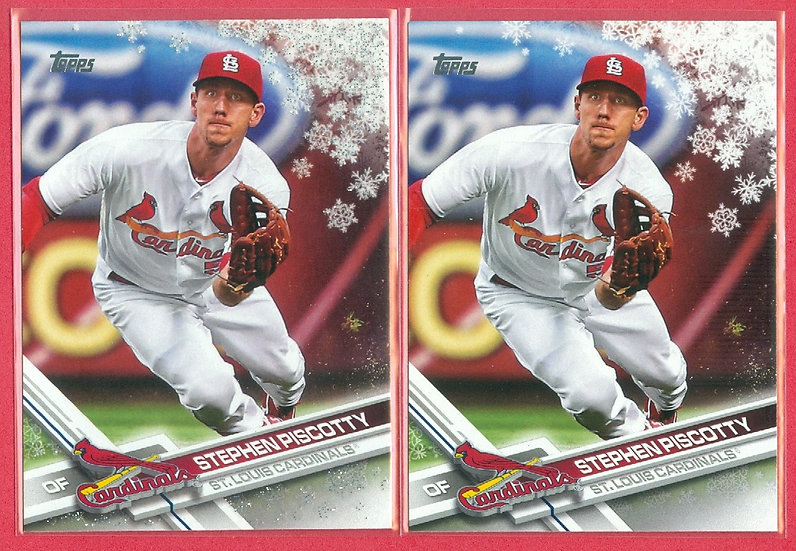 """""""Stephen Piscotty"""" 2017 TOPPS HOLIDAY 2-CARD LOT"""