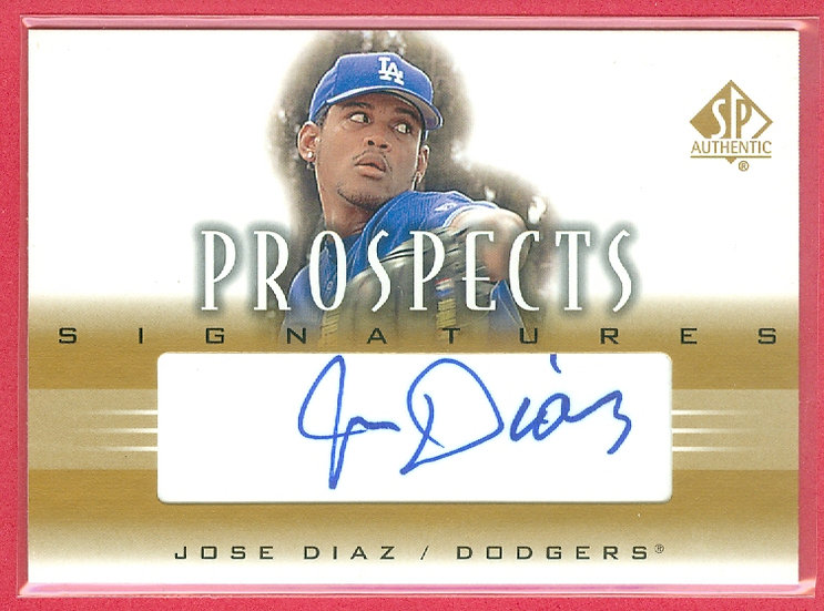 """Jose Diaz"" SP AUTHENTIC RC AUTOGRAPH CARD"