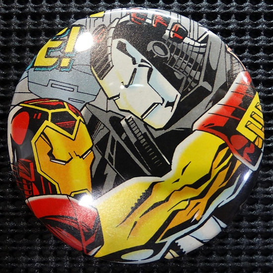 """IRON MAN/WAR MACHINE"" POP CULTURE 3"" PINBACK/PIN-BACK COMIC BUTTON"