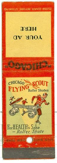 """RARE """"FLYING SCOUT ROLLER SKATES"""" MATCHBOOK CVR AD"""