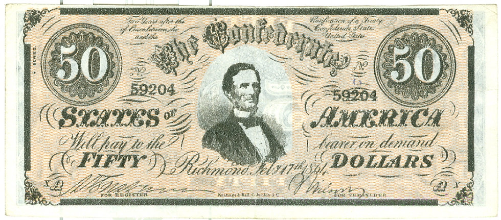 "1962 ""$50.00"" CONFEDERATE BANKNOTE PLAY MONEY"