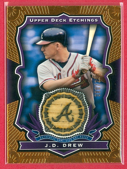"""J.D. Drew"" SP GAME-USED BAT RELIC CARD #d 080/250"
