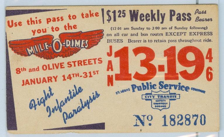 1946 ST. LOUIS CAR & BUS PASS TICKET #182870