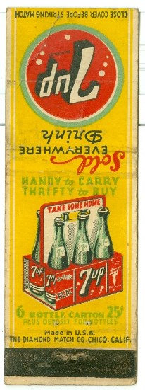 "1930's-40's ""7UP"" ADVERTISEMENT MATCHBOOK COVER"