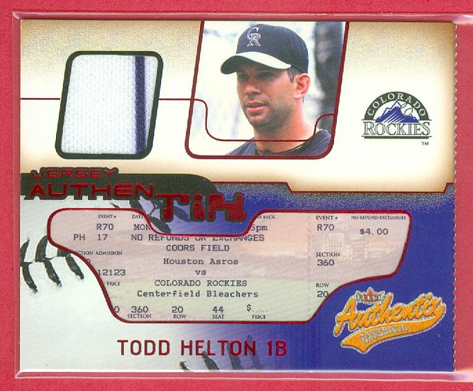 """""""Todd Helton"""" SP GAME JERSEY RELIC CHASE CARD"""