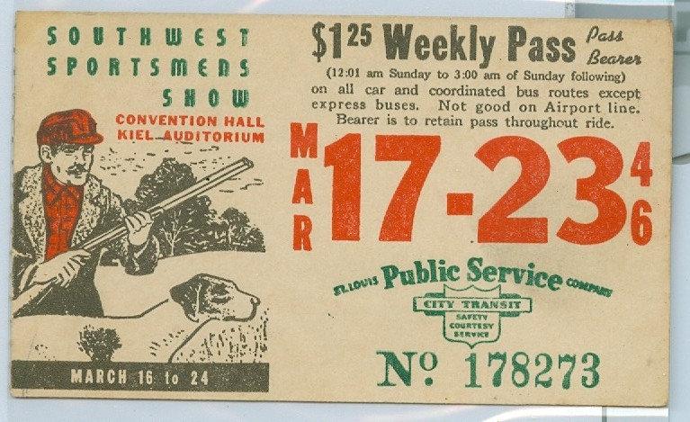 1946 ST. LOUIS CAR & BUS PASS TICKET #178273