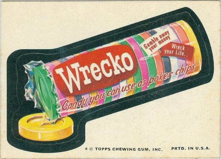 """1975 WACKY PACKAGES """"Wrecko"""" STICKER / TAN BACK"""