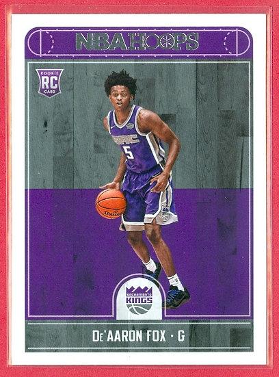 """""""De'Aaron Fox"""" 2017-18 NBA HOOPS RC CARD #255"""
