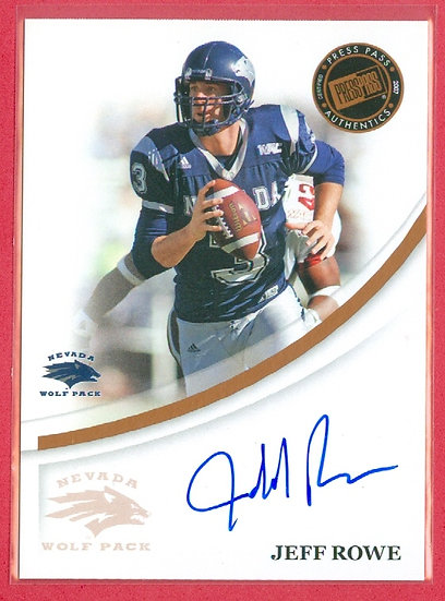 """""""Jeff Rowe"""" SP ROOKIE AUTOGRAPH CHASE CARD"""