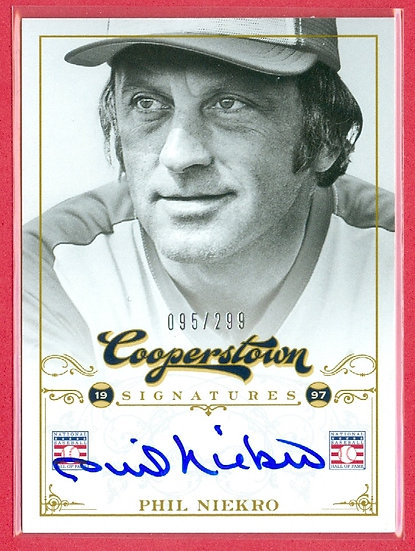 """Phil Niekro"" HOF SP ON-CARD AUTOGRAPH #ed 095/299"