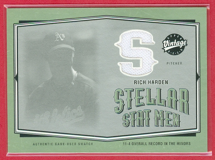 """""""Rich Harden"""" SP GAME-USED JERSEY RELIC CARD"""