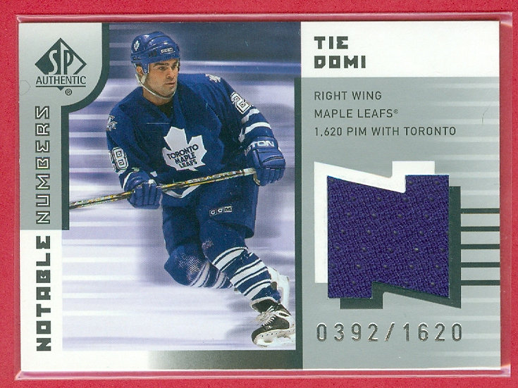 """""""Tie Domi"""" SP GAME-USED JERSEY CARD #'ed 0392/1620"""