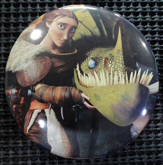 """""""VALKA from HTTYD"""" POP CULTURE 3"""" PIN-BACK COLLECTOR COMIC BUTTON"""