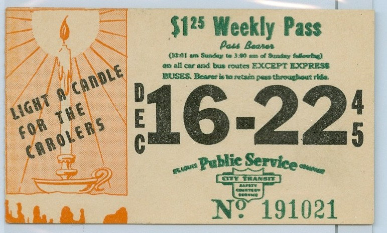 1945 ST. LOUIS CAR & BUS PASS TICKET #191021
