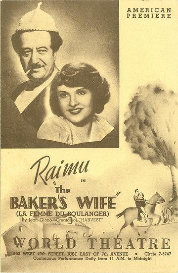 """RARE 1940's """"RAIMU in The BAKER'S WIFE"""" PROGRAM"""