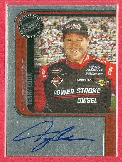 """Terry Cook"" NASCAR SP AUTOGRAPH FOIL CHASE CARD"