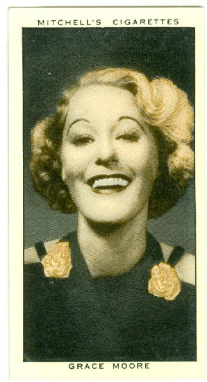 """MITCHELL'S 1936 """"Grace Moore"""" TOBACCO CARD #20"""