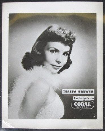 """Teresa Brewer"" B&W 4""x5"" GLOSSY FAN PHOTO"