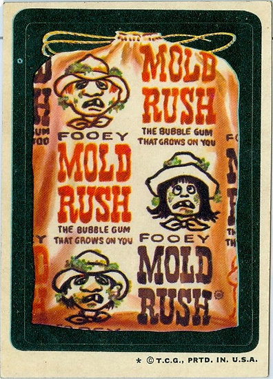 """1974 WACKY PACKAGES """"MOLD RUSH"""" STICKER / TAN BACK"""