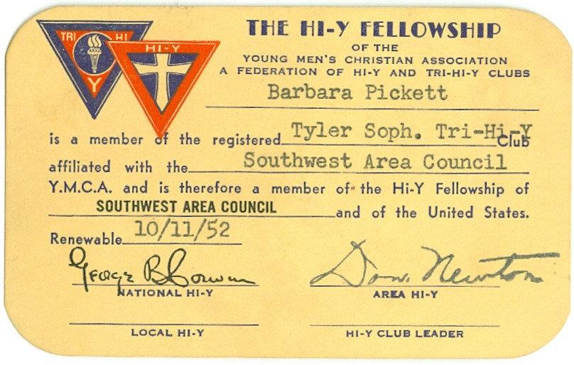"1952 YMCA ""HI-Y FELLOWSHIP MEMBER CARD"""