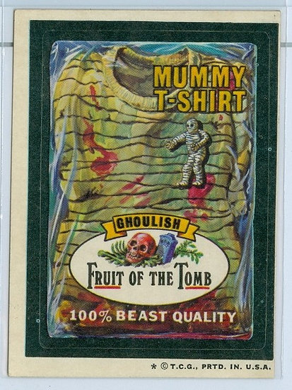 1974 WACKY PACKAGES MUMMY T-SHIRT STICKER/TAN BACK