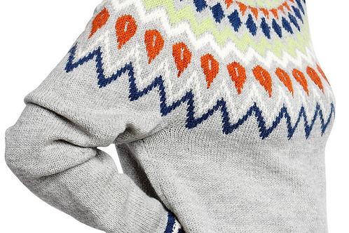 Uni-sweater med mønstret bærestykke