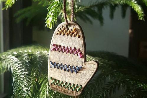 Julepynt - Vott med striper - 2 stk