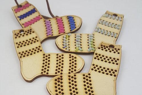 Julepynt - Sokk med striper - 2 stk