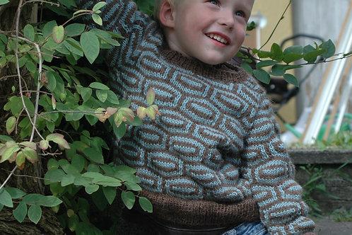 Drengesweater med strukturmønster