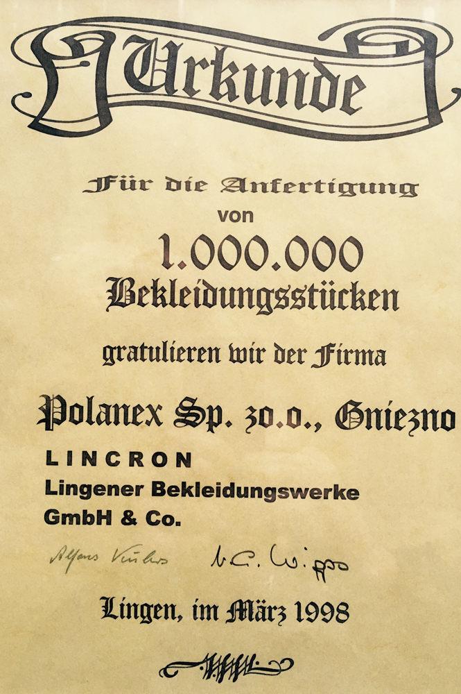 Dyplom z firmy Lincron