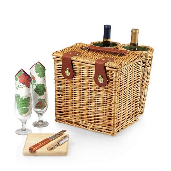 Vino Picnic Basket w/ 2 Exterior Wine Compartments