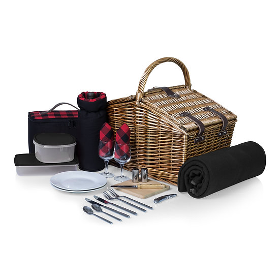 Somerset Picnic Basket - Red/Black Buffalo Plaid