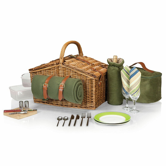Somerset Double Lid Deluxe Picnic Basket w/ Service for 2