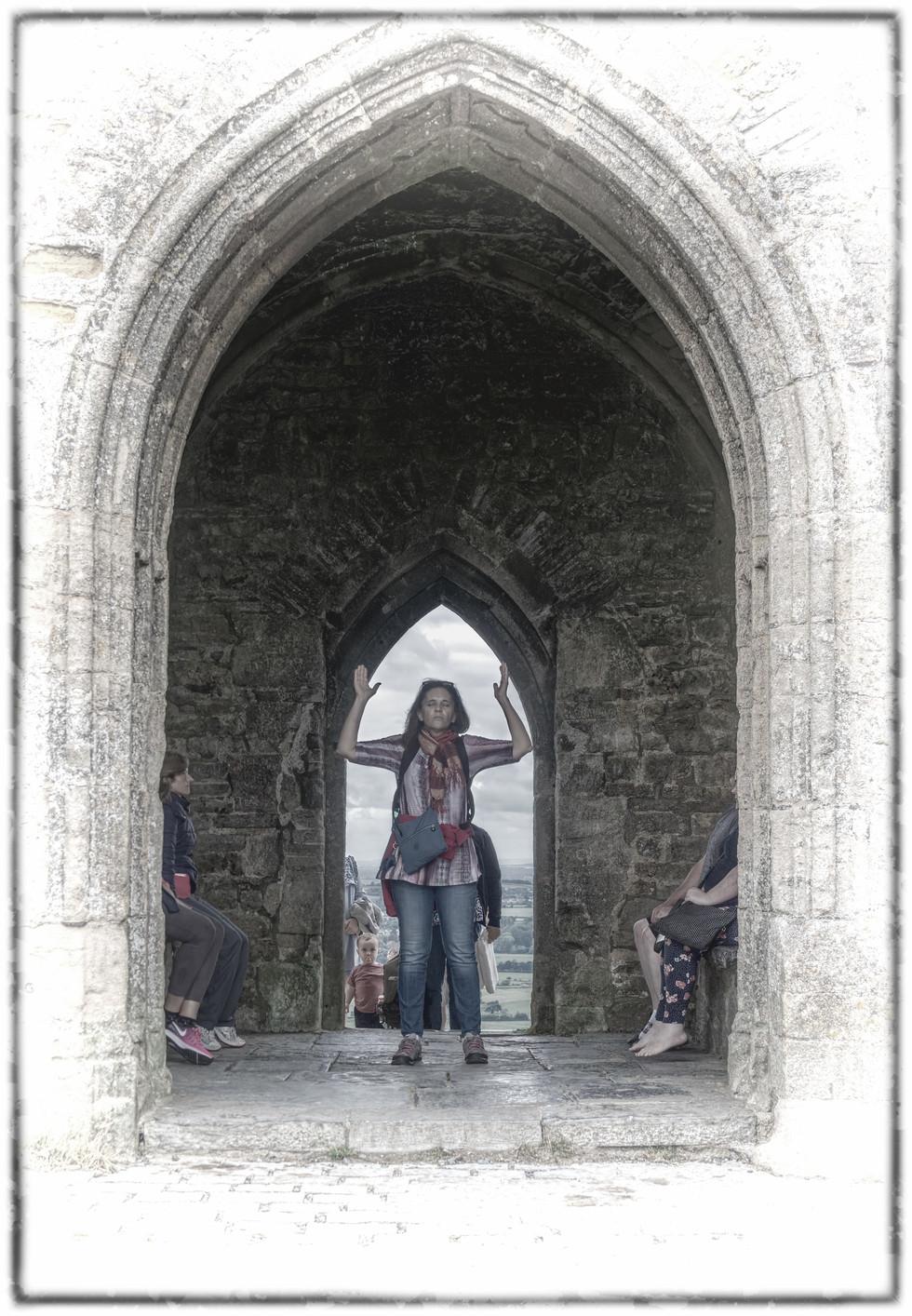 Spiritual woman inside St.Michael's Tower