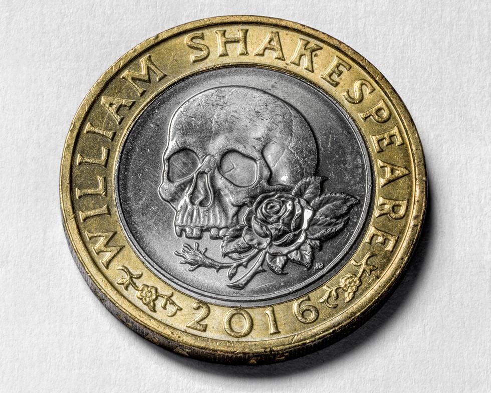 William Shakespeare Skull Tragedy £2