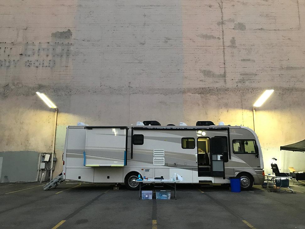 WheelhouseLA Production Motorhome on-set. Film Location: DTLA Downtown Los Angeles, California