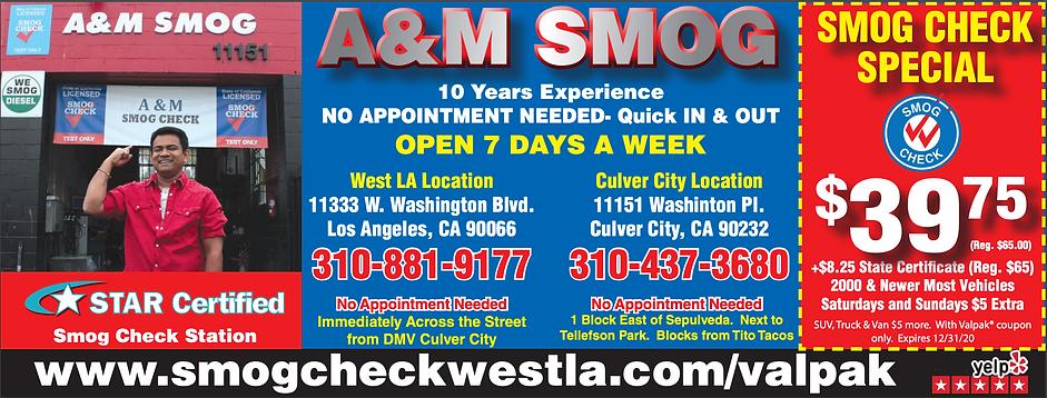 Val Pak A&M Smog STAR Certified Smog Center Culver City West Los Angeles