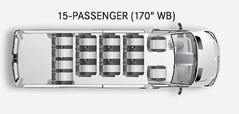 Mercedes Sprinter 15 passenger interior.