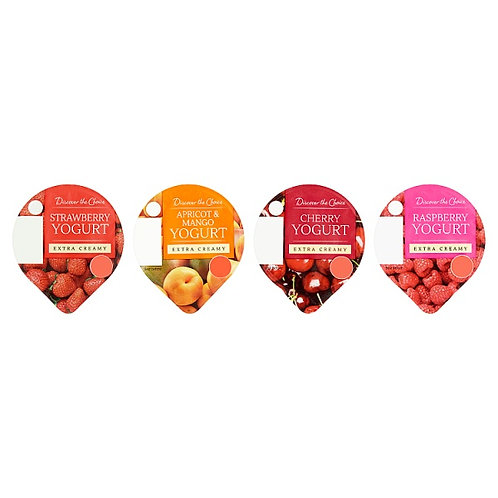 Discover The Choice Extra Creamy Yoghurt, Strawberry, Raspberry, Peach