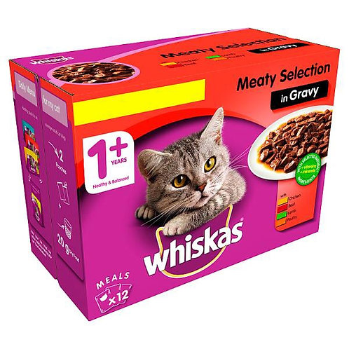 Whiskas 1+ Cat Pouch Meat in Gravy